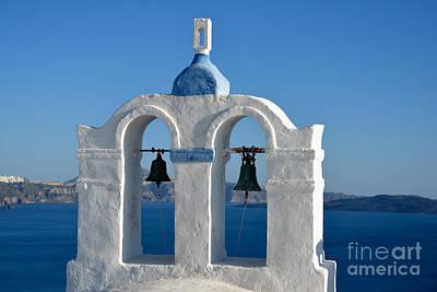 Bell Photograph - Traditional Belfry In Santorini Island by George Atsametakis