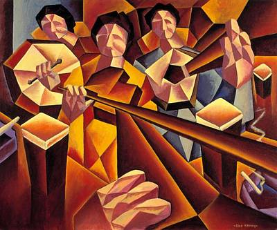 Session Musician Painting - Traditional Irish Music Session  With Structured Musicians by Alan Kenny