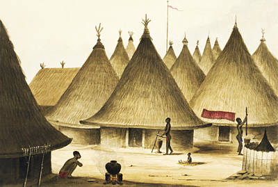 African Huts Painting - Traditional Native Village Circa 1840 by Aged Pixel