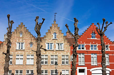 Traditional Old Belgium House Facades In Bruges Print by Kiril Stanchev