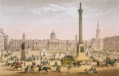 Gallery Drawing - Trafalgar Square, C.1862 by Achille-Louis Martinet