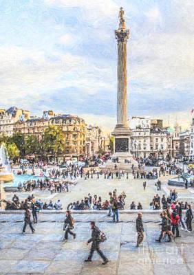 London Digital Art - Trafalgar Square London England by Liz Leyden