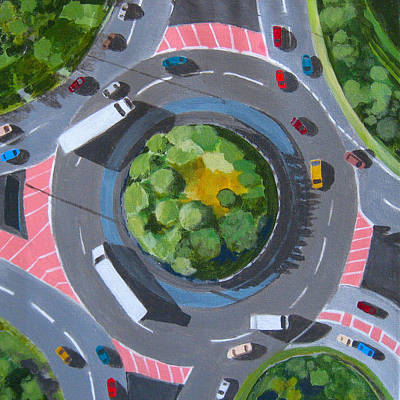 Intersection Painting - Traffic Circle by Toni Silber-Delerive