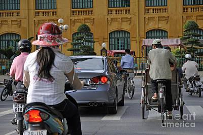 Traffic In Downtown Hanoi Print by Sami Sarkis