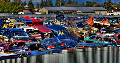 Wrecked Cars Photograph - Traffic Jam - Ferrell's Auto Wrecking by David Patterson