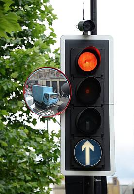 Traffic Lights And Mirror Print by Cordelia Molloy