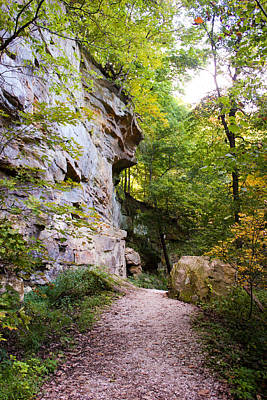 Muscatine Photograph - Trail Beside The Cliff Wildcat Den State Park by Cynthia Woods