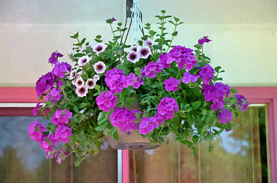 Garden Painting - Trailing Petunia Flowers In A Hanging Basket by Lanjee Chee