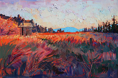 Backpacking Painting - Trails End by Erin Hanson