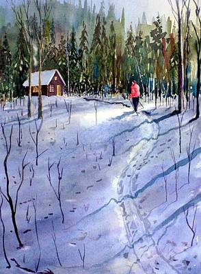 Cross-country Skiing Painting - Trail's End by Ian Nicholl