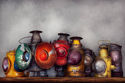 Brakeman Photograph - Train - A Collection Of Rail Road Lanterns  by Mike Savad