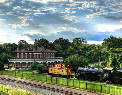 Old Trains Photograph - Train Depot Sun Breaking Through by Geoff Mckay