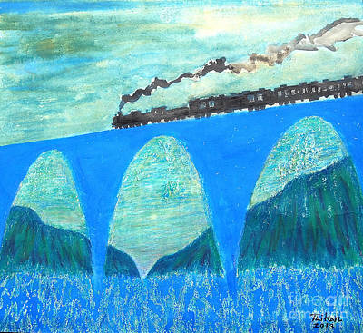 Taikan Painting - Train For A New World By Taikan by Taikan Nishimoto