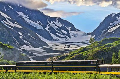Train In Front Of Kenai Glacier Print by Betty Eich