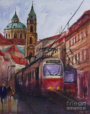 Prague Drawings Painting - Train In Prague by Lior Ohayon