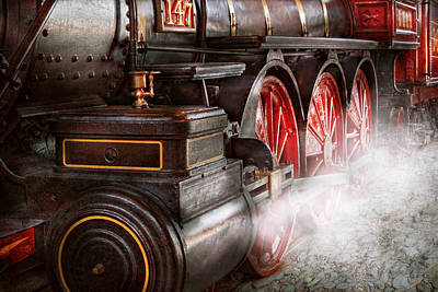 Locomotive Wheels Photograph - Train - Let Off Some Steam  by Mike Savad