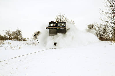 Train In The Winter Photograph - Train Plow In Action by Nick Mares