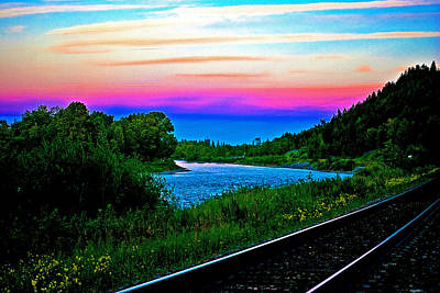 Alberta Photograph - Train Tracks And Color In The Sky by Laura Strain