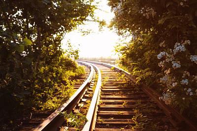 Train Tracks At Sunset Print by Vivienne Gucwa