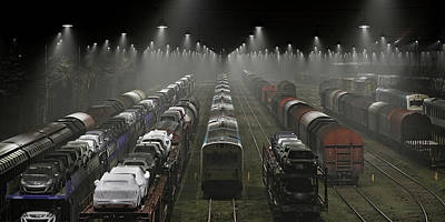 Night Lamp Photograph - Trainsets by Leif L?ndal