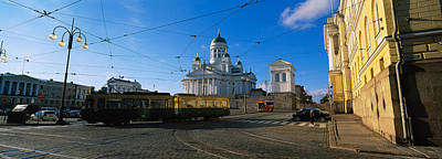 Tram Moving On A Road, Senate Square Print by Panoramic Images