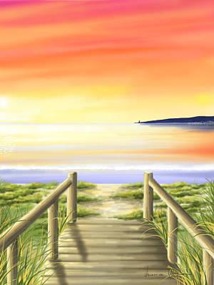 Seascape Digital Painting - Tramonto Di Fine Estate by Veronica Minozzi