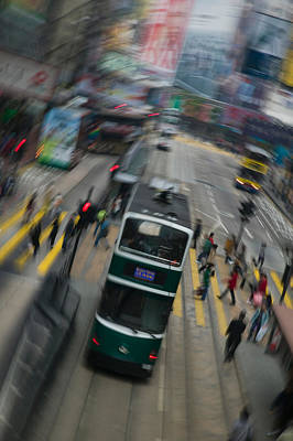 Hennessy Photograph - Trams On A Road, Hennessy Road, Wan by Panoramic Images