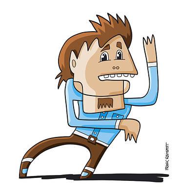 Blue Digital Art - Trance Dance Man Doodle Character by Frank Ramspott