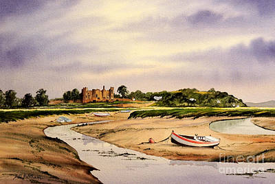 Wood Castle Painting - Tranquil Laugharne South Wales by Bill Holkham
