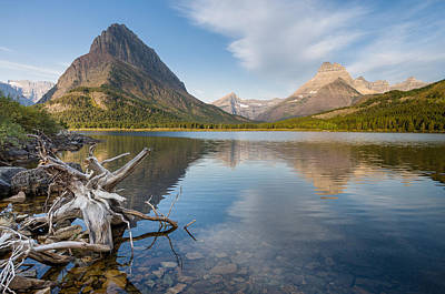 Tranquil Morning On Swiftcurrent Lake Print by Greg Nyquist