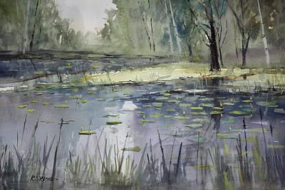 Cattails Painting - Tranquillity by Ryan Radke