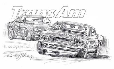 Auto Drawing - Trans Am Racing Mustang by David Lloyd Glover