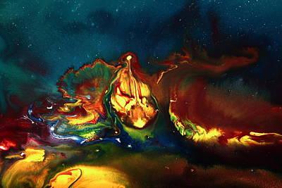 Contemporary Abstract Mixed Media - Translucent Yellow Abstract Artwork-demon By Kredart by Serg Wiaderny