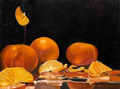 Tangerine Painting - Transparent Tangerines by Paola T Pileri Hernandez