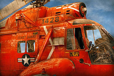 Transportation - Helicopter - Coast Guard Helicopter Print by Mike Savad