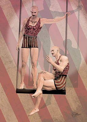 Trapeze Artist Drawing - Trapezist Brothers by Quim Abella