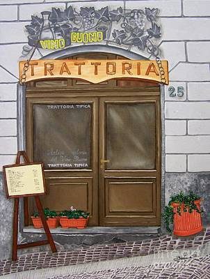 Italian Wine Painting - Trattoria Del Vino Buono by Barbara Pelizzoli