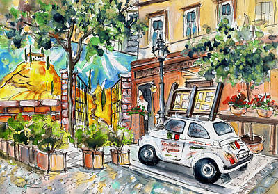 Tuscany Drawing - Trattoria Mamma In Budapest by Miki De Goodaboom