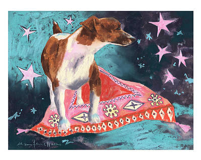 Persian Carpet Painting - Travelling Terrier by Alison Fennell