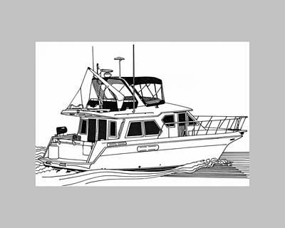 Watersports Drawing - Trawler Yacht by Jack Pumphrey