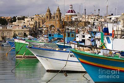 Marsaxlokk Photograph - Trawlers And Town, Malta by Tim Holt