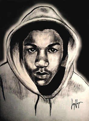 Hoodies Drawing - Trayvon by Joyce Hayes