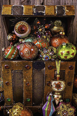 Treasure Box With Christmas Ornaments Print by Garry Gay