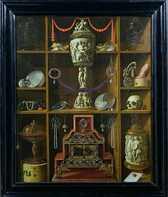 Treasure Chest, 1666 Oil On Canvas Print by Johann Georg Hinz