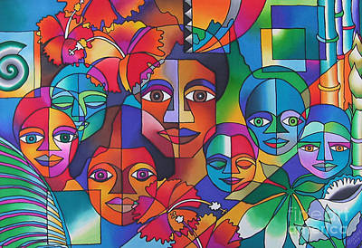 Contemporary Tribal Art Painting - Treasure What We Have by Maria Rova