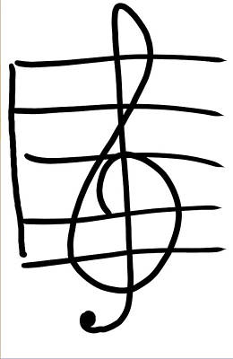 Taylor Swift Drawing - Treble Clef by Jada Johnson