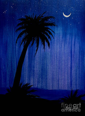 Stary Sky Painting - Tree And Moon by Artist Singh