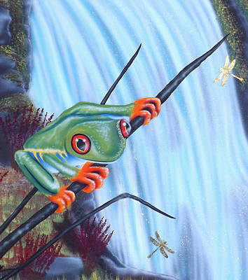 Dragonflies Painting - Tree Frog by Darren Robinson