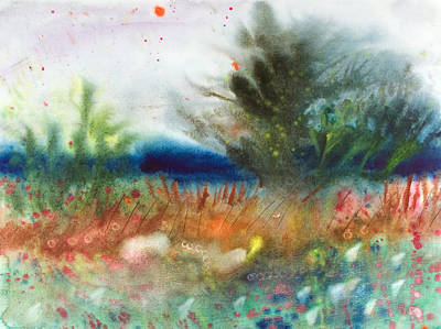 Wet Into Wet Watercolor Painting - Tree In The Field by Brook Powell
