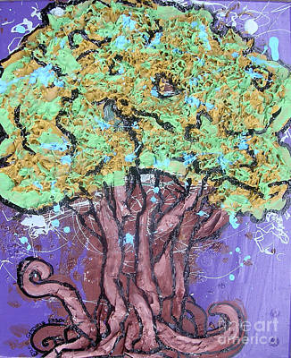 Tree In Three Dee Print by Genevieve Esson
